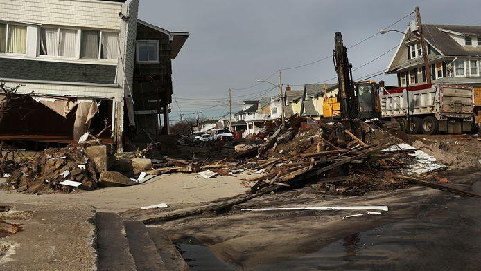 Schade in Queens, New York na orkaan Sandy.