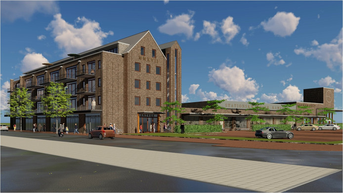 Nabij het station is begonnen met de bouw van 21 appartementen boven ruimtes voor sociale doeleinden.