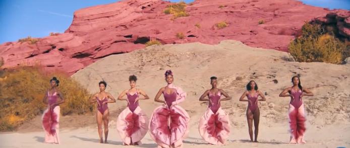 Een still uit de veelbekeken clip 'Pynk' van de Amerikaanse zangeres Janelle Monáe.