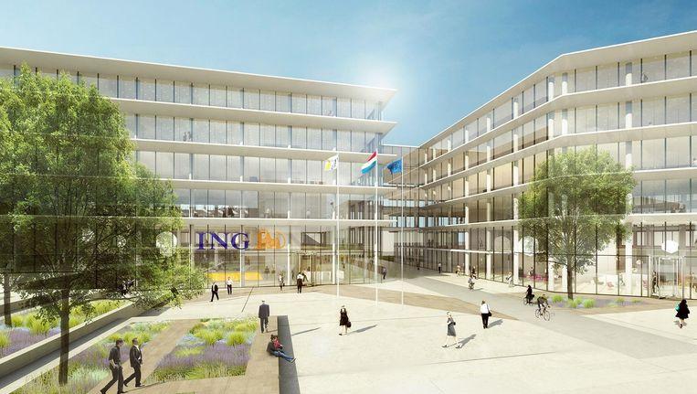 Een impressie van het nieuwe hoofdkantoor van ING aan de Bijlmerdreef in Zuidoost. Beeld Benthem Crouwel Architekten