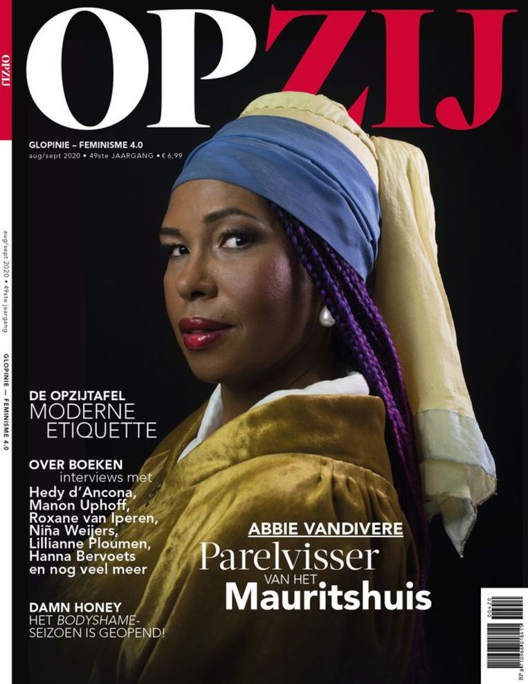 De cover van Opzij met Abbie Vandivere.  Beeld