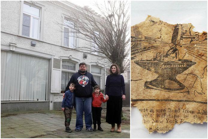 Kristof en Inge vonden een stukje van een oude Britse krant in de spouw van een houten muur.