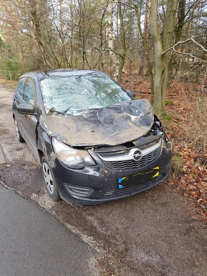 De schade aan de auto door de aanrijding met het hert.