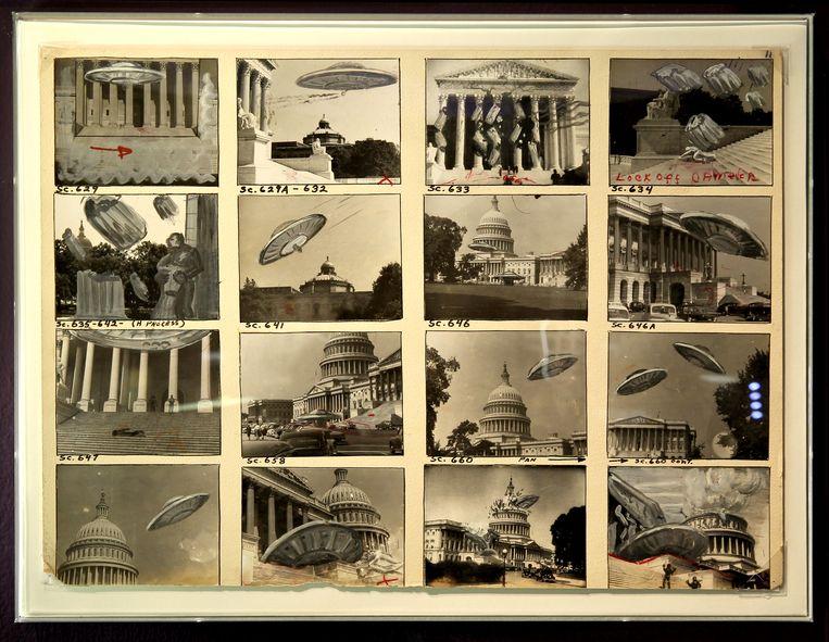 Storyboards van Ray Harryhausen. Beeld Sanne Donders