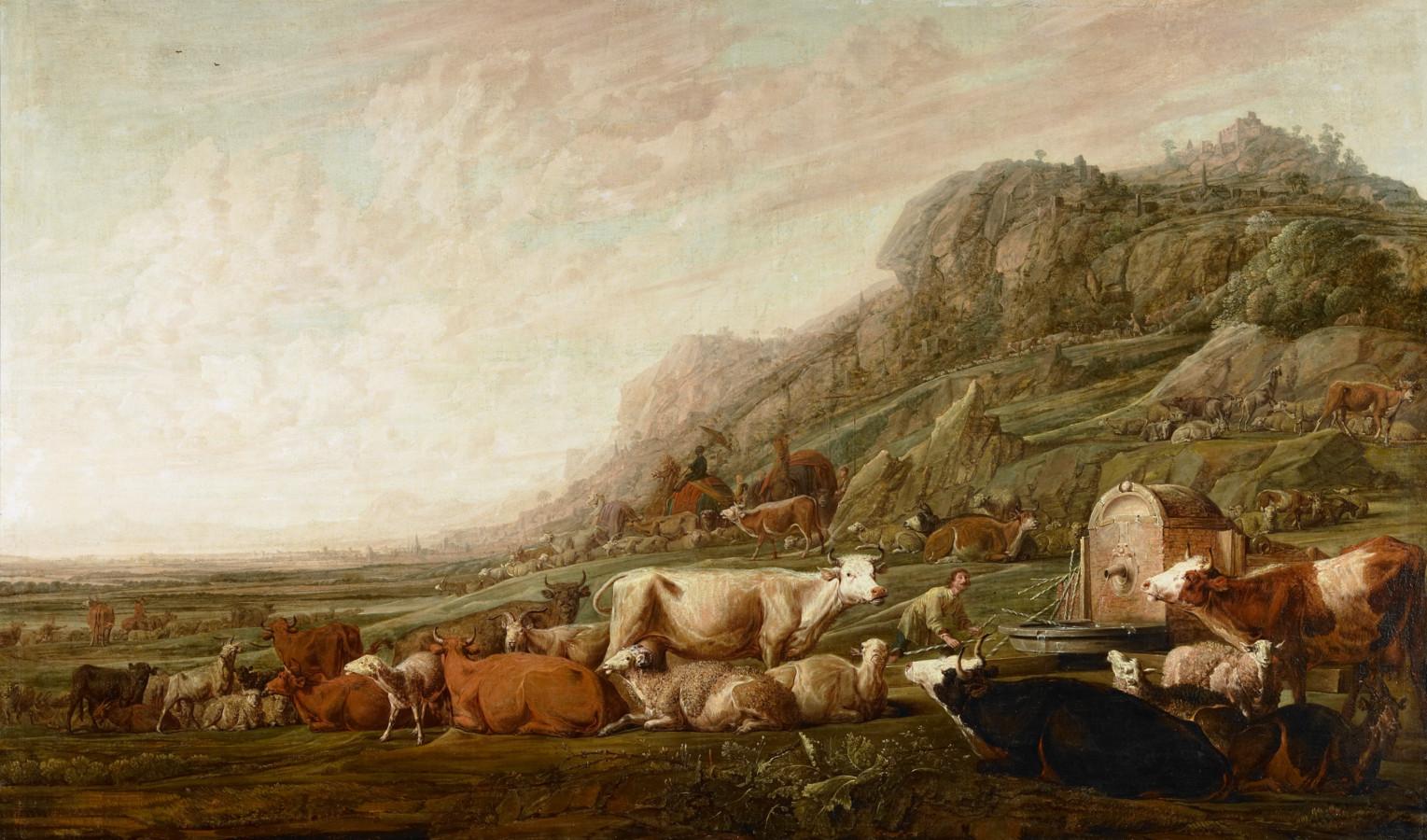 Jacob hoedt de kudde van Laban. Een gesigneerd schilderij van Franchoys Ryckhals uit 1642, dat in het bezit is van het Zeeuws Museum en nu in het Stadhuismuseum is te zien