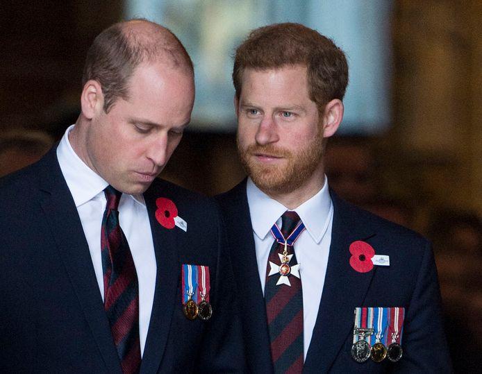 Prins William en prins Harry in 2018, toen er van de 'Megxit' nog geen sprake was.