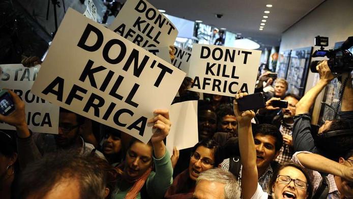 Demonstranten bij de klimaattop in Durban.