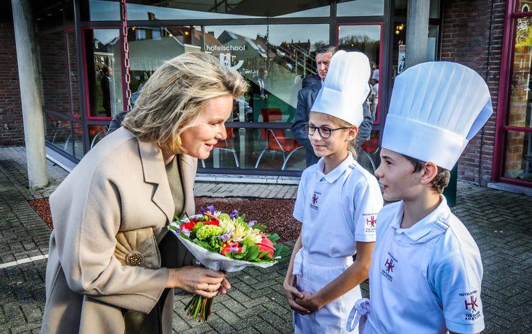 Koksijde: bezoek koningin Mathilde aan de hotelschool