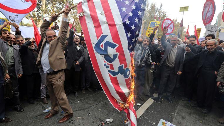 De jaarlijkse viering van de gijzeling van de Amerikaanse ambassade in Teheran, Iran. Beeld epa
