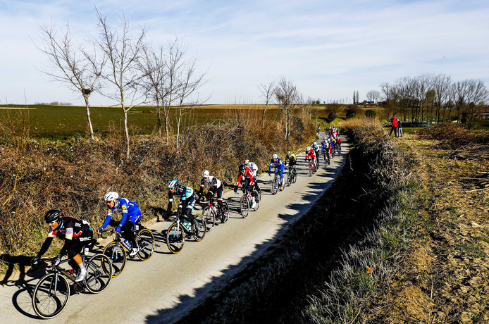 Het peloton tijdens de wielerklassieker Omloop Het Nieuwsblad. ANP BAS CZERWINSKI