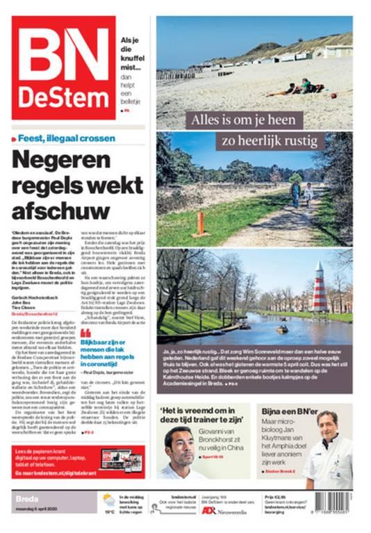 De voorpagina van BN DeStem van maandag 6 april.