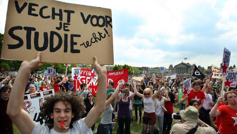 Protest tegen bezuinigingen in het hoger onderwijs. (Archieffoto) Beeld anp