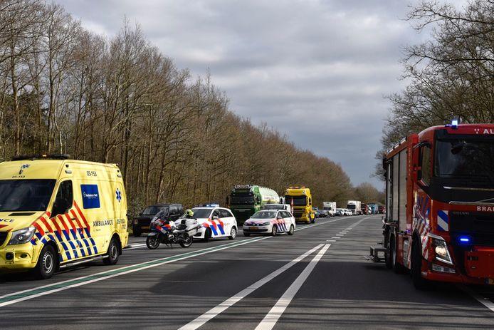 De hulpdiensten waren massaal aanwezig voor een ernstig ongeval op de N36.