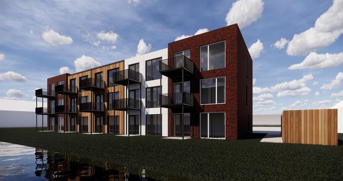Artist impression van de vijftien huurappartementen die Bouwlinie in plan Bronkhorst in Andel gaat bouwen.