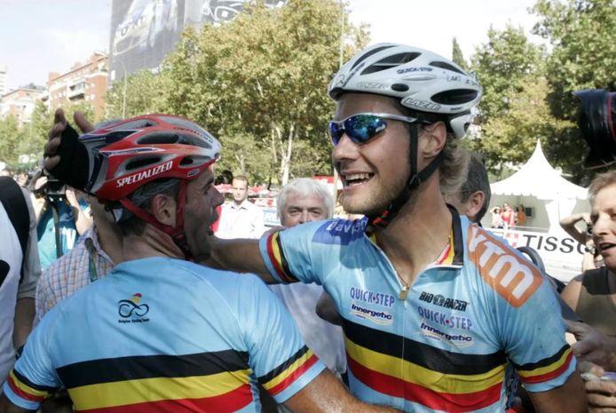 Van Petegem en Boonen na de aankomst.
