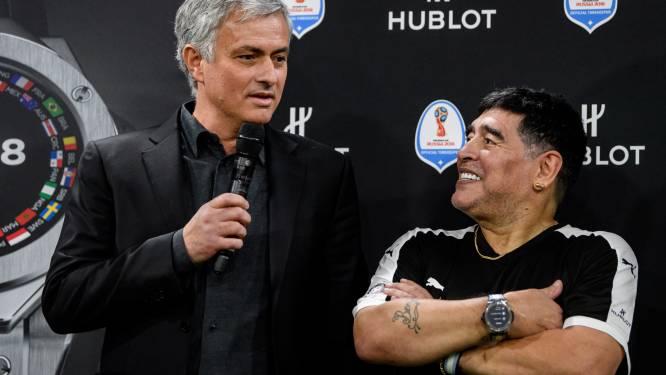 """Mourinho over Maradona: """"Na nederlagen belde Diego en zei hij: 'Mou, je bent de beste, vergeet dat nooit'"""""""