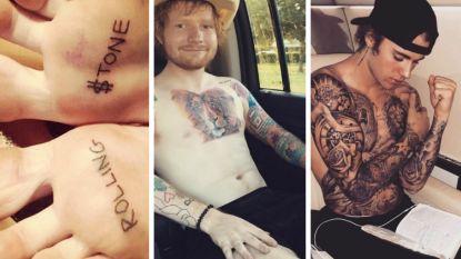 Boterhampasta, een levensgrote hertenkop en een geslagen vrouw: de meest bizarre celeb-tattoos