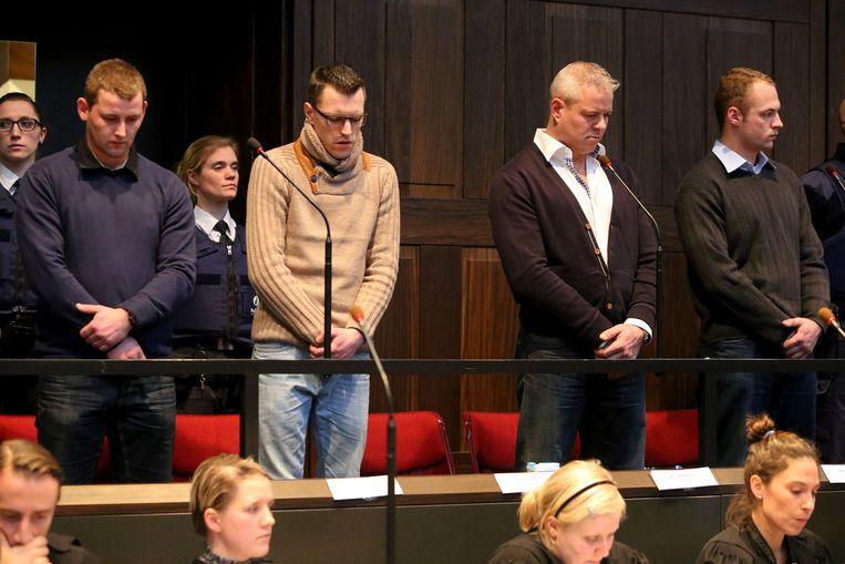 Kevin Goeman, Robin Van Bossuyt, Jacky Labaere en Kevin Derveaux krijgen hun straf te horen.
