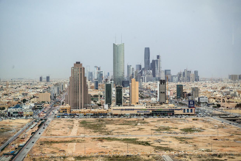 Zicht op het financiële hart van hoofdstad Riyad van Saoedi-Arabië.