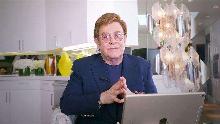 Het 'iHeart Living Room Concert for America' van maandag 30 maart, met Elton John. Beeld