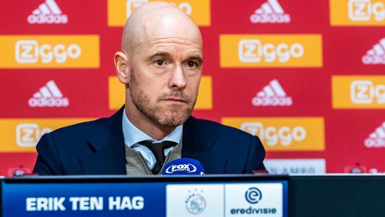 Trainer Erik ten Hag bij de persconferentie van de wedstrijd Beeld ProShots/ Marcel van Dorst