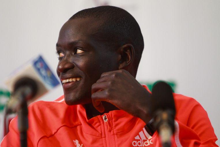 De 30-jarige Keniaan Dennis Kimetto scherpte de toptijd twee weken geleden in Berlijn aan tot 2.02.57 uur. Beeld epa