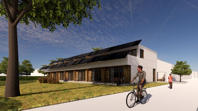 Beeld van de vervangende nieuwbouw, waarbij veel van de oude materialen worden gebruikt. De nieuwe woningen krijgen in tegenstelling tot de huidige huizen een tweede verdieping.