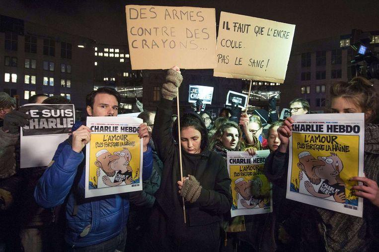 Steunbetuigingen in Brussel. Beeld null