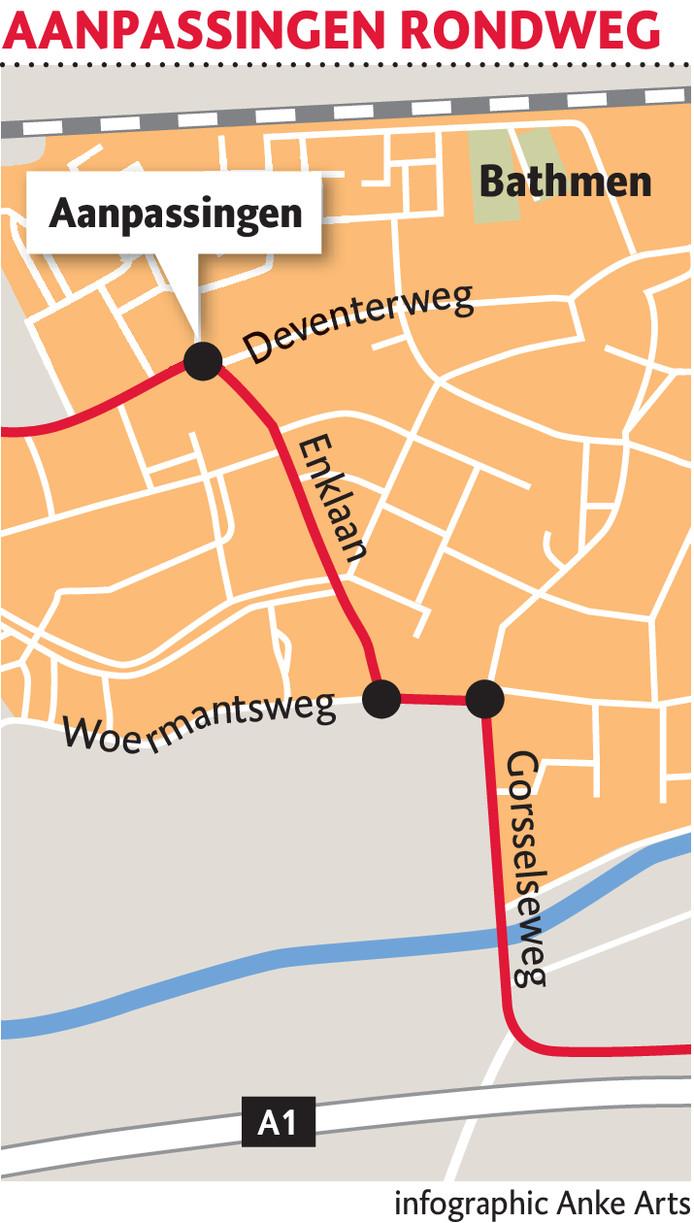 De aanpassingen op kruisingen op de 'rondweg' langs het dorp zorgen onverminderd voor commotie in Bathmen.