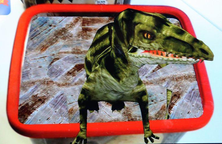 De afbeelding van een dino op een doos van Jacques IJs.