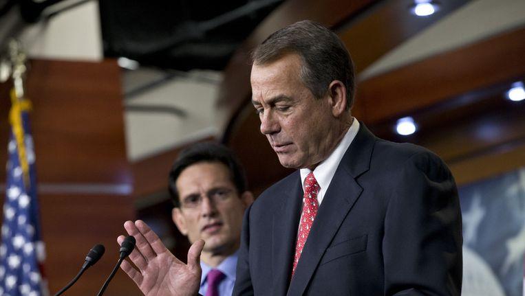 Republikein John Boehner staat de pers te woord over de 'fiscal cliff' Beeld ap