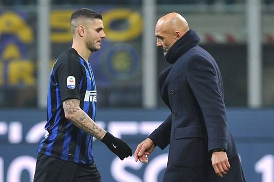Mauro Icardi en Luciano Spalletti gunnen elkaar geen blik.