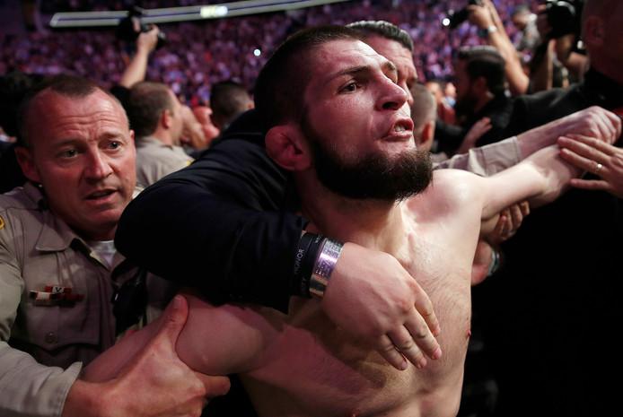 Chabib Noermagomedov in 2018 na het gevecht met Conor McGregor dat helemaal uit de hand liep.