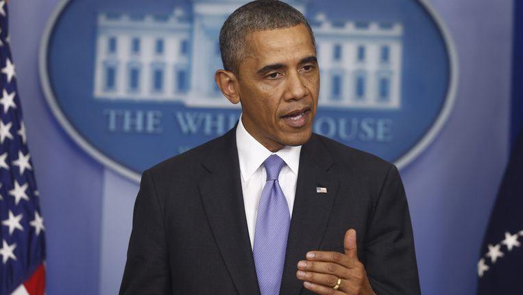 President Obama tijdens zijn persconferentie, direct na de stemming in de Senaat. Beeld ap