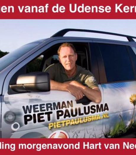 Piet Paulusma brengt weerbericht live vanaf kermis Uden