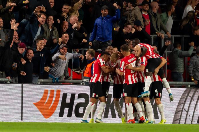 PSV viert de thuiszege in de Europa League-groepsfase op Sporting Lissabon, afgelopen september.