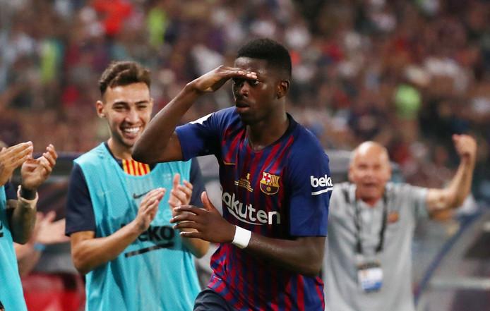 Ousmane Dembélé juicht na zijn prachtige winnende goal voor FC Barcelona.