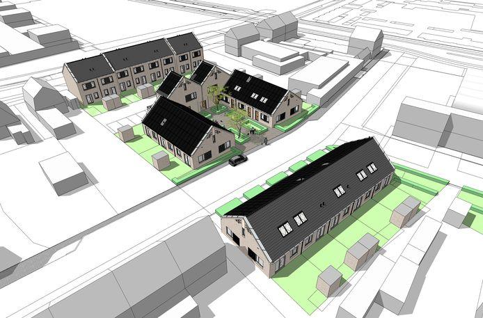 Het nieuwbouwplan voor de Annawijk. Aan de Postelstraat (onder) komen elf zogeheten nultredenwoningen, zes aan een hofje en vijf aan de overkant van de weg. Achter het hofje en aan de Hoogeindsestraat (boven) komen in totaal tien eengezinswoningen.