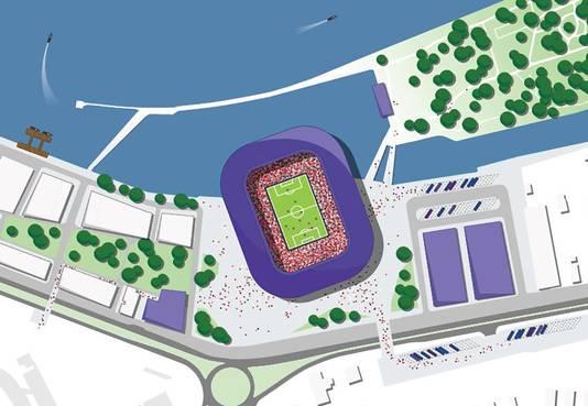 Het stadion ingetekend aan de oostkant van de Veranda, vlakbij het Eiland van Brienenoord.
