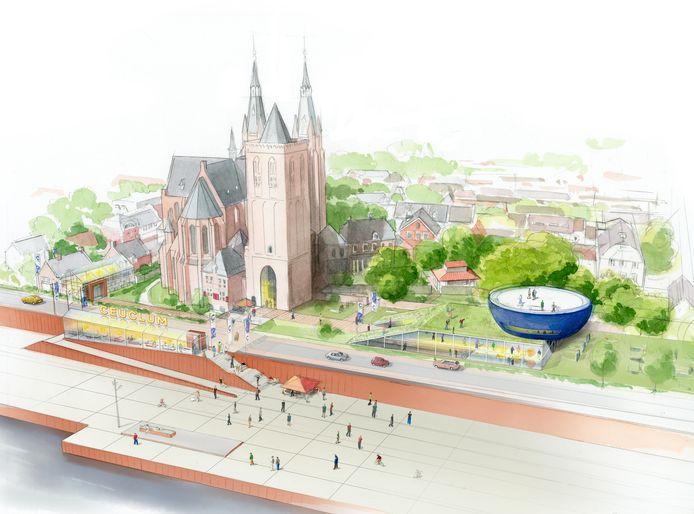 Blik op het mogelijk nieuwe Romeins kwartier van Cuijk, met op de voorgrond de Maaskade. De blauwe kom rechts met gebouw eronder staat voor het Ceuclum Archeo Experience center.