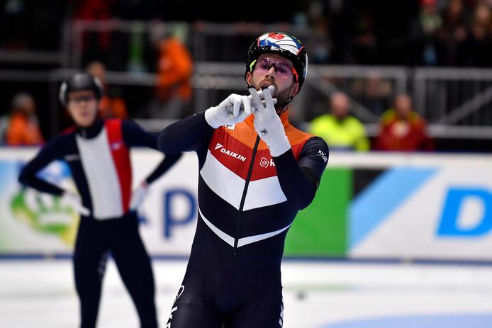 Daan Breeuwsma met een gebaar naar Knegt tijdens het EK.