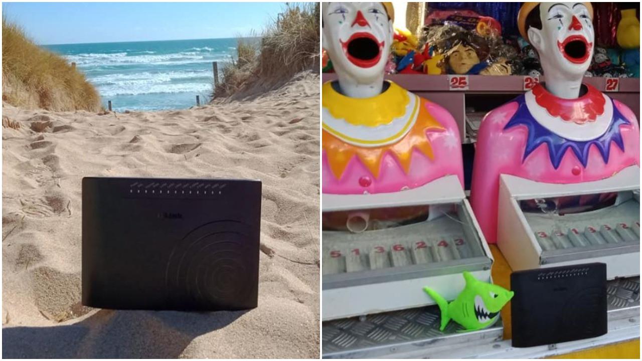 Het modem ging mee naar het strand en naar de kermis.
