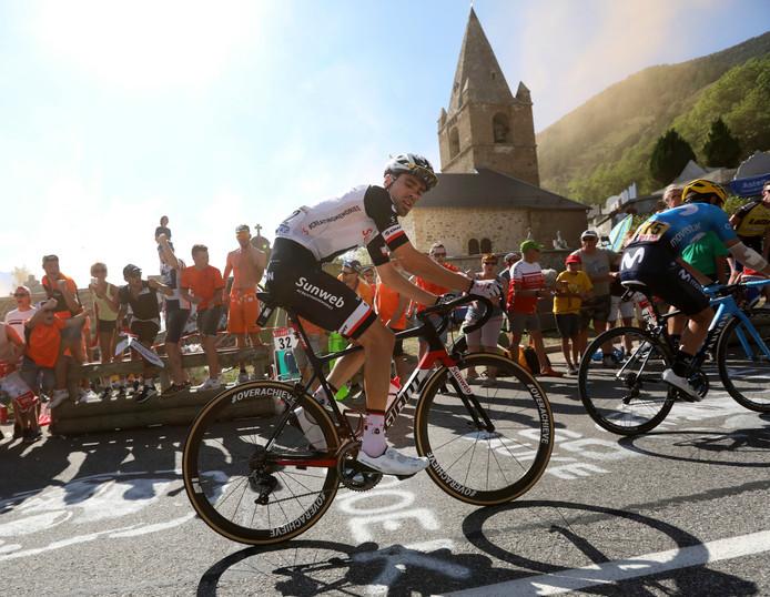 Tom Dumoulin tijdens de beklimming van de Alpe d'Huez.