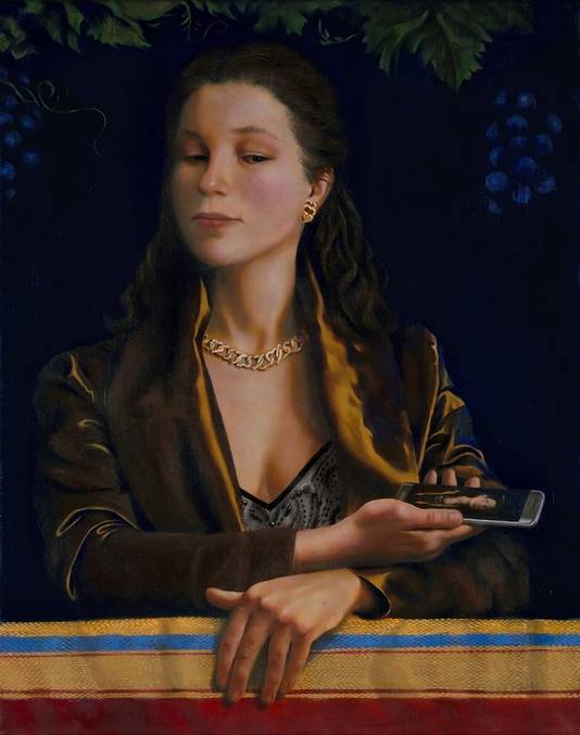 De eigen, moderne variant van Cowpers 'Vanity', waarbij Tessa Aalbregt zichzelf schilderde.