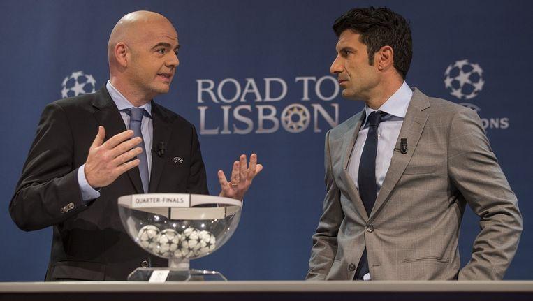 Infantino (links) kan rekenen op de steun van Figo (rechts)