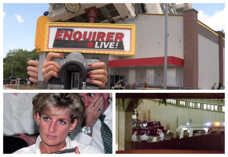 Foto boven: Het indoor-pretpark National Enquirer Live! in Tennessee. Foto links: Diana in januari 1997. Foto rechts: het wrak van de Mercedes aan de tunnel van de Pont de l'Alma in Parijs.