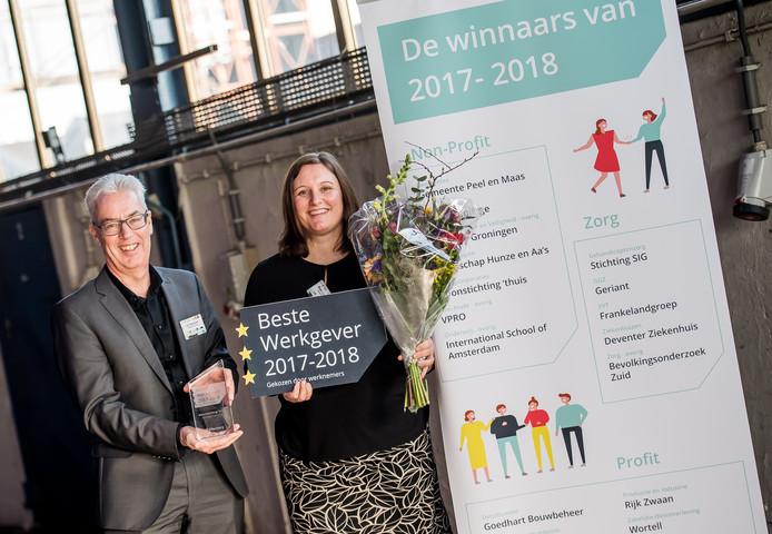 Directeur Luc Severijnen en adviseur personeelszaken/HRM Mieke Lepelaars van woningcorporatie 'Thuis met de prijs voor de beste werkgever 2017/2018 van onderzoeksbureau Effectory.