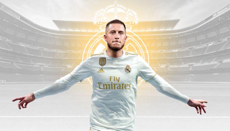 Eden Hazard in een shirt van Real