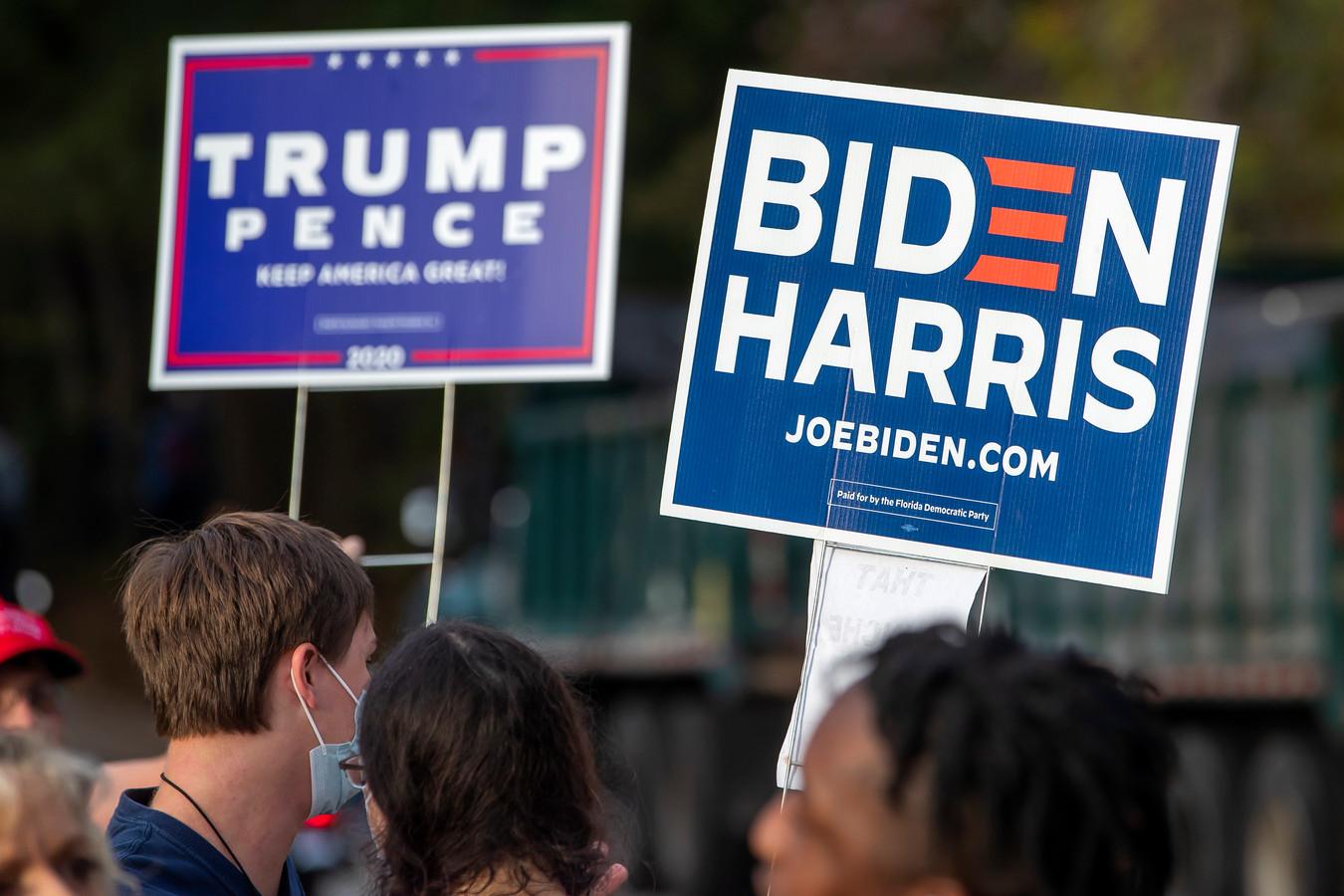 Supporters van Donald J. Trump en de democratische kandidaat Joe Biden.