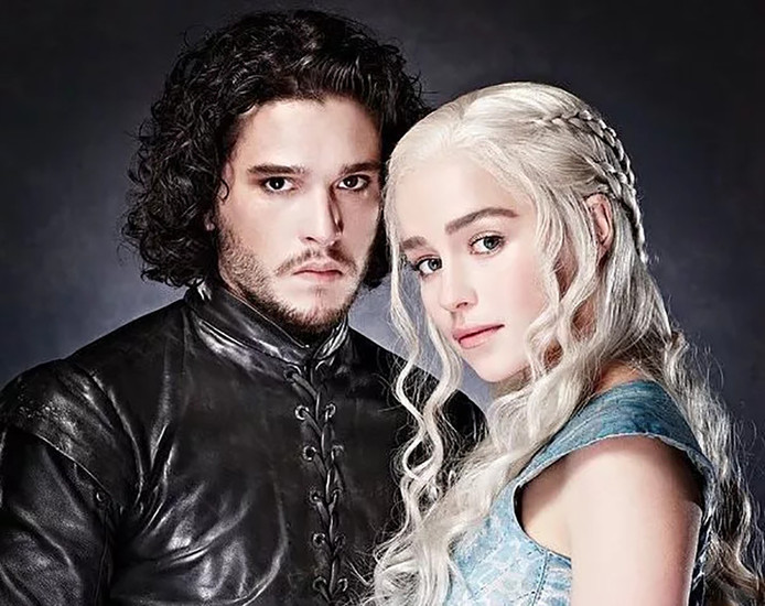 Jon Snow en Daenerys in Game of Thrones.
